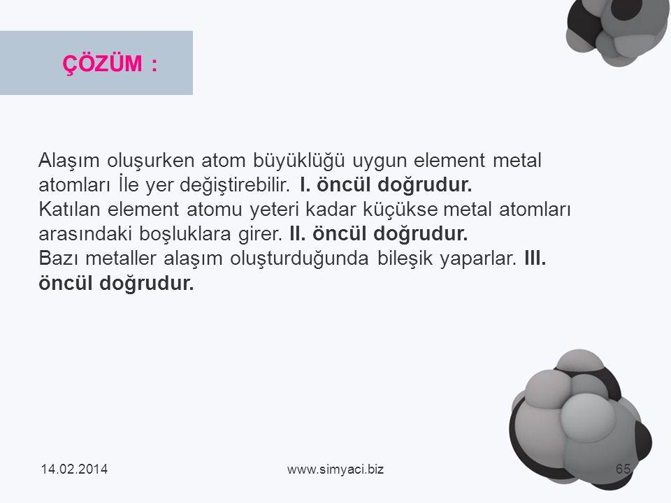 Alaşım oluşurken atom büyüklüğü uygun element metal atomları İle yer değiştirebilir.