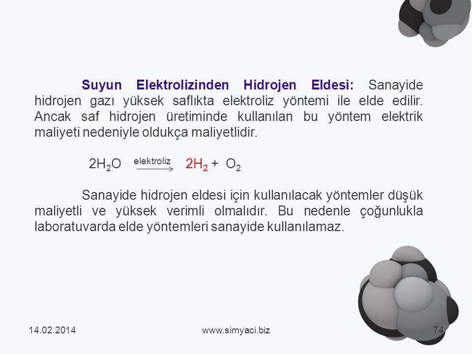 Suyun Elektrolizinden Hidrojen Eldesi: Sanayide hidrojen gazı yüksek saflıkta elektroliz yöntemi ile elde edilir.