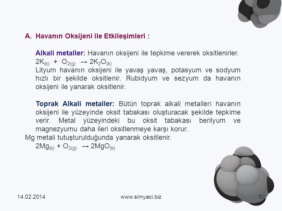 A.Havanın Oksijeni ile Etkileşimleri : Alkali metaller: Havanın oksijeni ile tepkime vererek oksitlenirler.