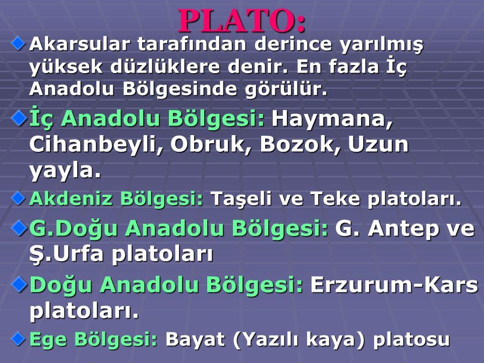 PLATO: Akarsular tarafından derince yarılmış yüksek düzlüklere denir. En fazla İç Anadolu Bölgesinde görülür. İç Anadolu Bölgesi: Haymana, Cihanbeyli,