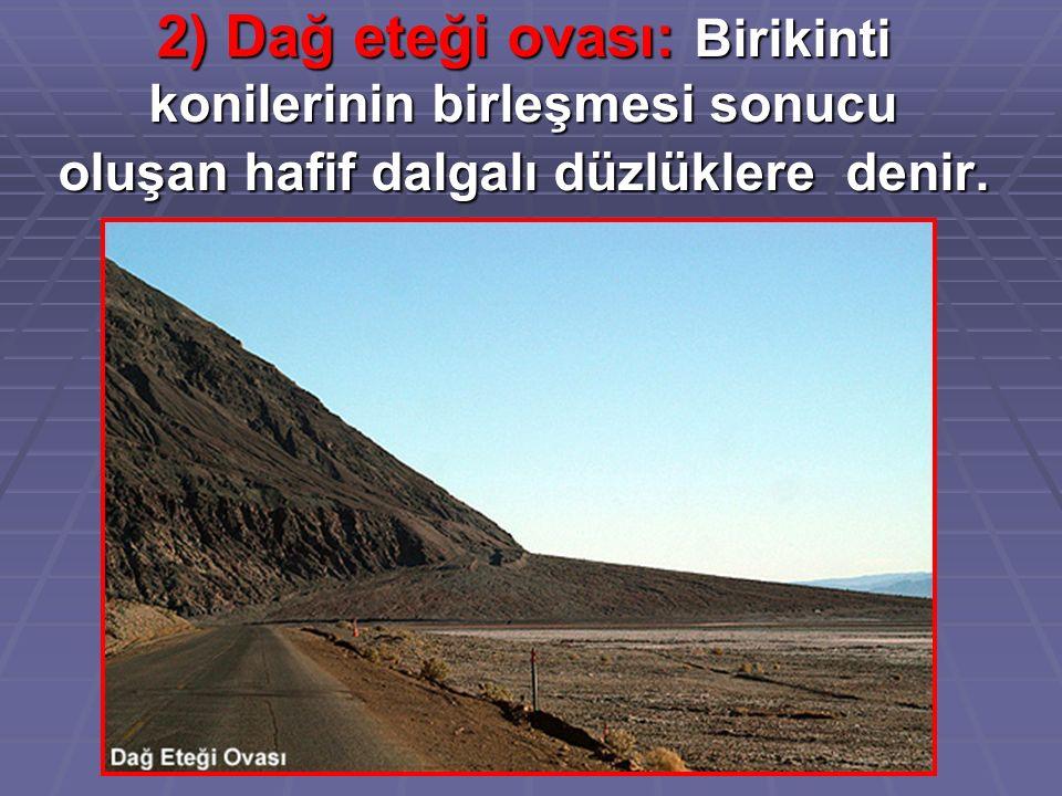 2) Dağ eteği ovası: Birikinti konilerinin birleşmesi sonucu oluşan hafif dalgalı düzlüklere denir.