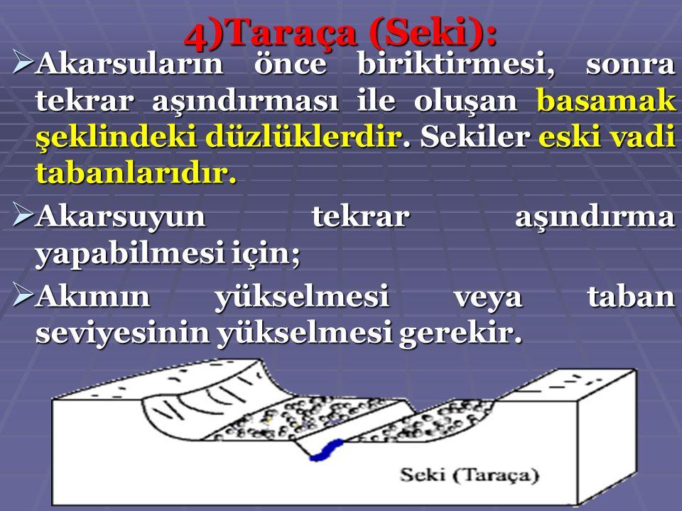 4)Taraça (Seki): Akarsuların önce biriktirmesi, sonra tekrar aşındırması ile oluşan basamak şeklindeki düzlüklerdir. Sekiler eski vadi tabanlarıdır. A