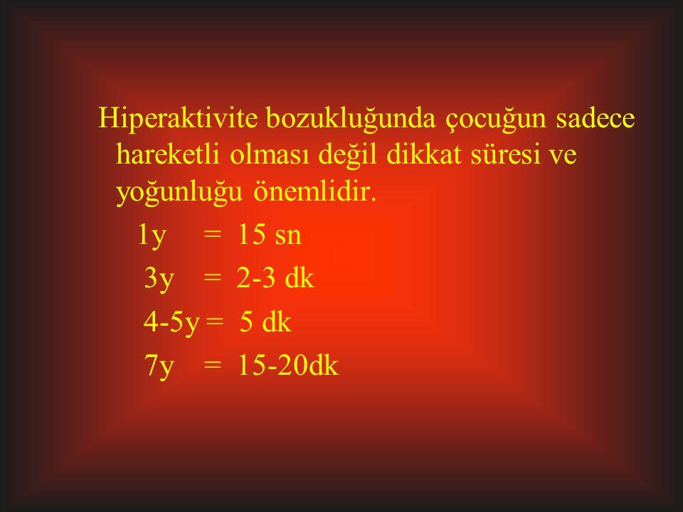 Hiperaktivite bozukluğunda çocuğun sadece hareketli olması değil dikkat süresi ve yoğunluğu önemlidir. 1y = 15 sn 3y = 2-3 dk 4-5y = 5 dk 7y = 15-20dk