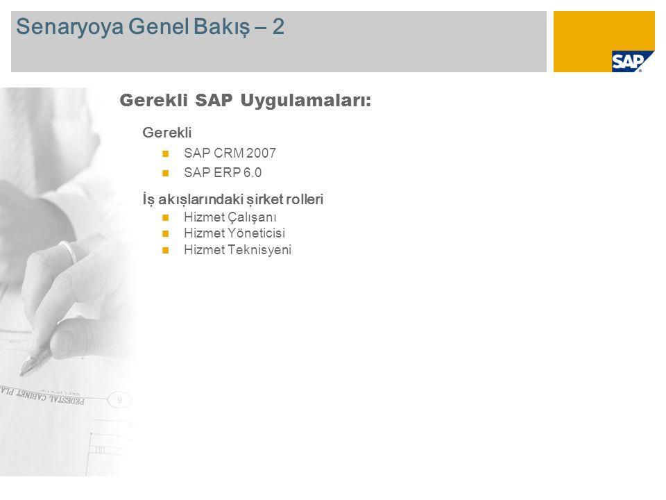 Senaryoya Genel Bakış – 2 Gerekli SAP CRM 2007 SAP ERP 6.0 İş akışlarındaki şirket rolleri Hizmet Çalışanı Hizmet Yöneticisi Hizmet Teknisyeni Gerekli