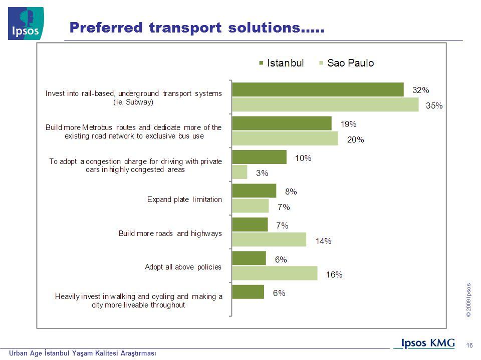 Urban Age İstanbul Yaşam Kalitesi Araştırması © 200 9 Ipsos 16 Preferred transport solutions…..