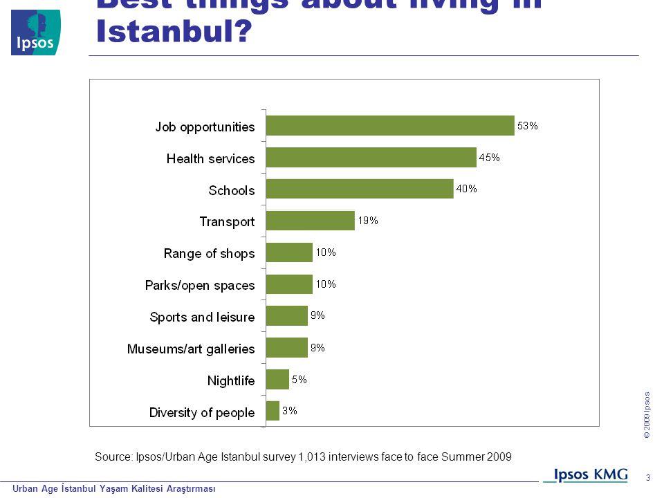 Urban Age İstanbul Yaşam Kalitesi Araştırması © 200 9 Ipsos 3 Best things about living in Istanbul? Source: Ipsos/Urban Age Istanbul survey 1,013 inte
