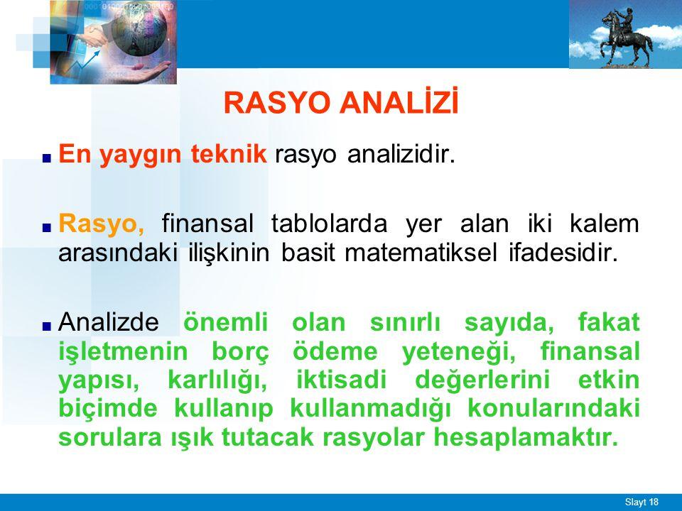 Slayt 18 RASYO ANALİZİ ■ En yaygın teknik rasyo analizidir. ■ Rasyo, finansal tablolarda yer alan iki kalem arasındaki ilişkinin basit matematiksel if
