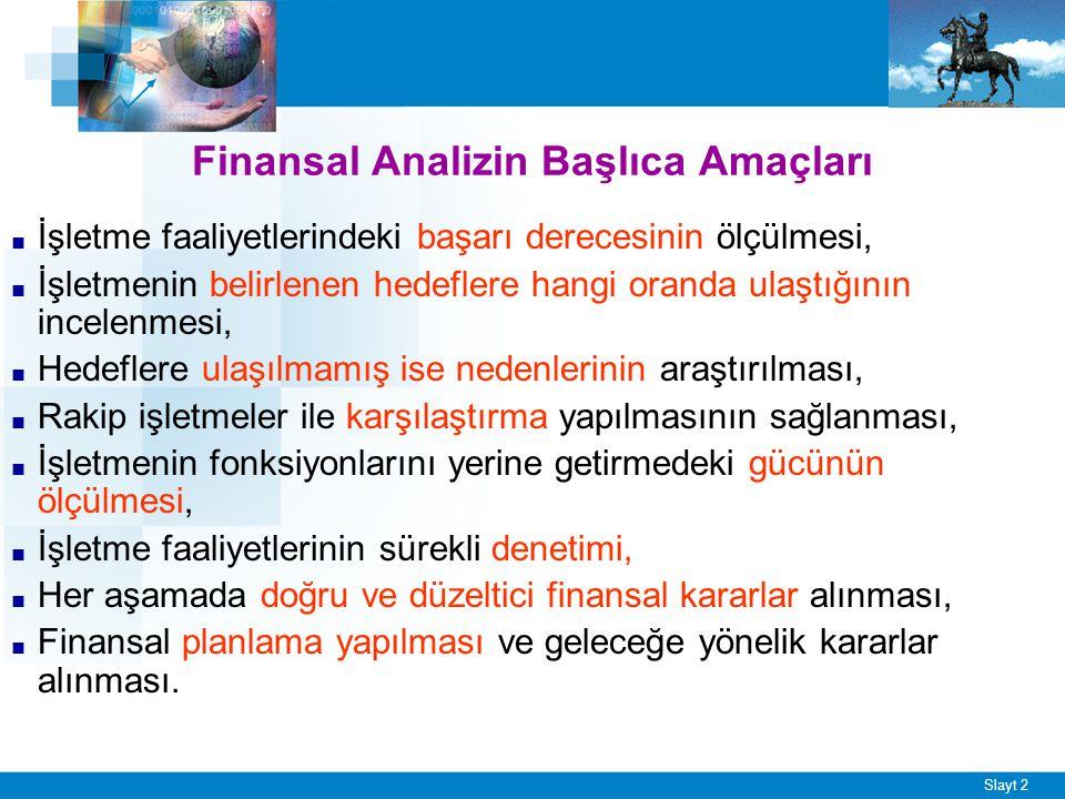 Slayt 2 Finansal Analizin Başlıca Amaçları ■ İşletme faaliyetlerindeki başarı derecesinin ölçülmesi, ■ İşletmenin belirlenen hedeflere hangi oranda ul
