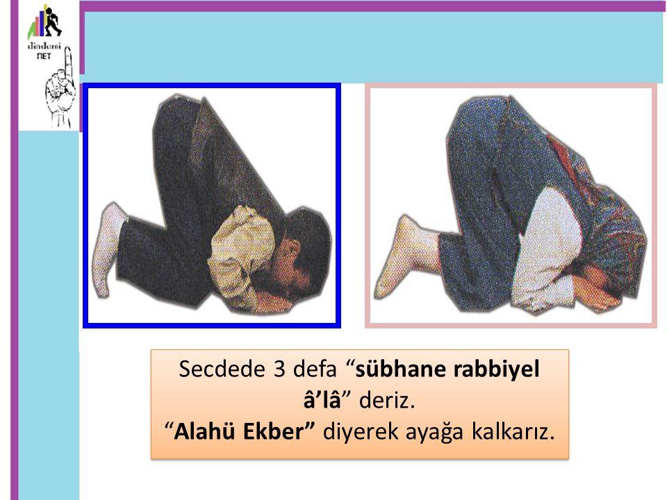 """Secdede 3 defa """"sübhane rabbiyel â'lâ"""" deriz. """"Alahü Ekber"""" diyerek ayağa kalkarız. Secdede 3 defa """"sübhane rabbiyel â'lâ"""" deriz. """"Alahü Ekber"""" diyere"""