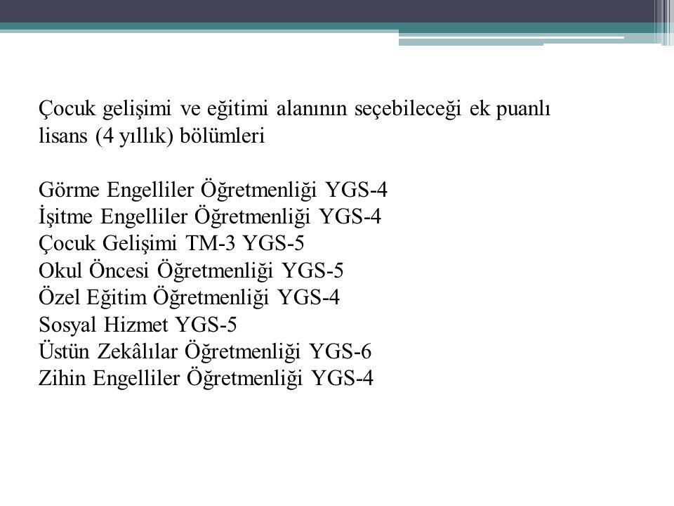 Çocuk gelişimi ve eğitimi alanının seçebileceği ek puanlı lisans (4 yıllık) bölümleri Görme Engelliler Öğretmenliği YGS-4 İşitme Engelliler Öğretmenliği YGS-4 Çocuk Gelişimi TM-3 YGS-5 Okul Öncesi Öğretmenliği YGS-5 Özel Eğitim Öğretmenliği YGS-4 Sosyal Hizmet YGS-5 Üstün Zekâlılar Öğretmenliği YGS-6 Zihin Engelliler Öğretmenliği YGS-4
