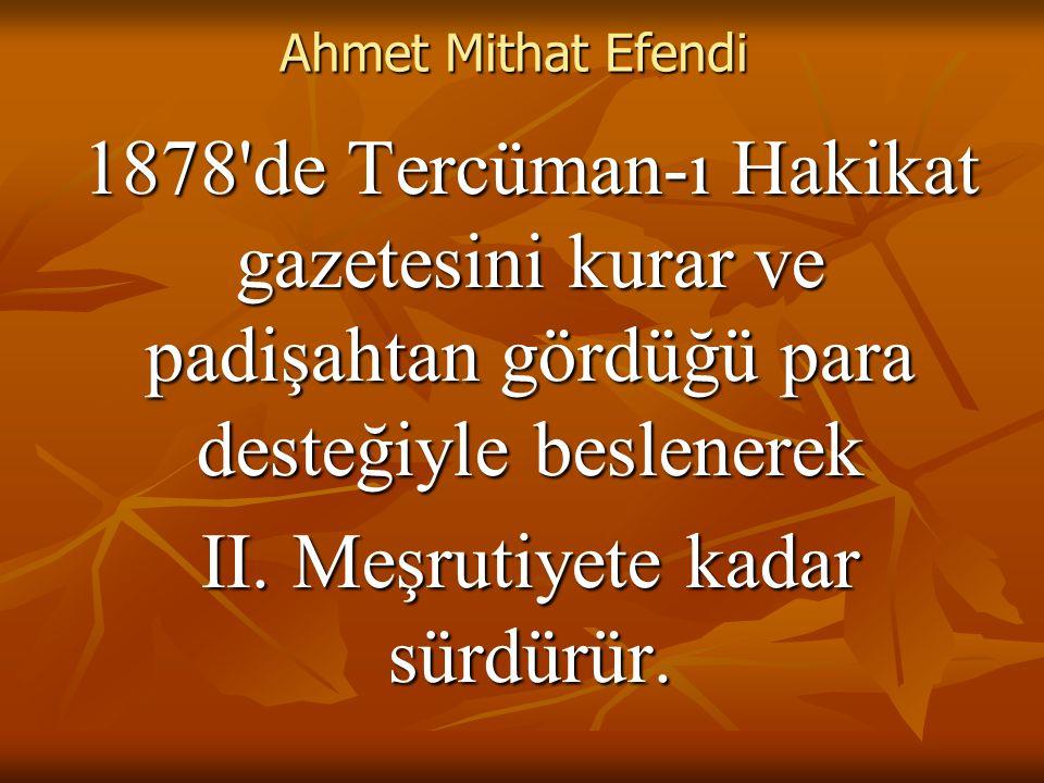 Ahmet Mithat Efendi 1878 de Tercüman-ı Hakikat gazetesini kurar ve padişahtan gördüğü para desteğiyle beslenerek II.
