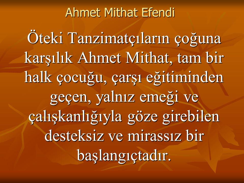 Ahmet Mithat Efendi Öteki Tanzimatçıların çoğuna karşılık Ahmet Mithat, tam bir halk çocuğu, çarşı eğitiminden geçen, yalnız emeği ve çalışkanlığıyla göze girebilen desteksiz ve mirassız bir başlangıçtadır.