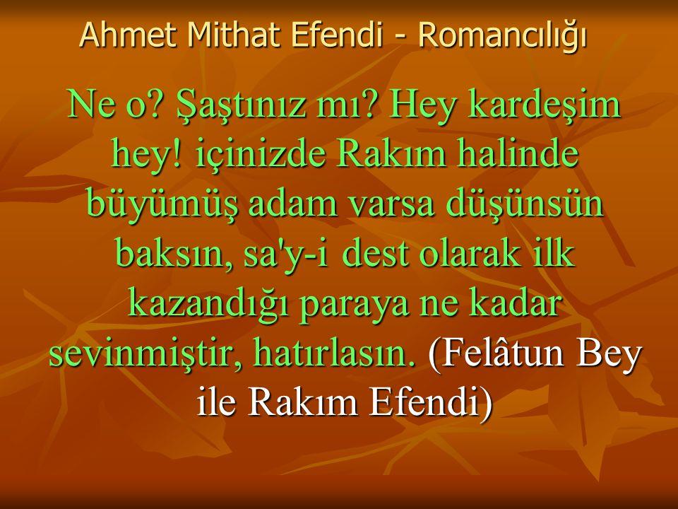 Ahmet Mithat Efendi - Romancılığı Ne o.Şaştınız mı.