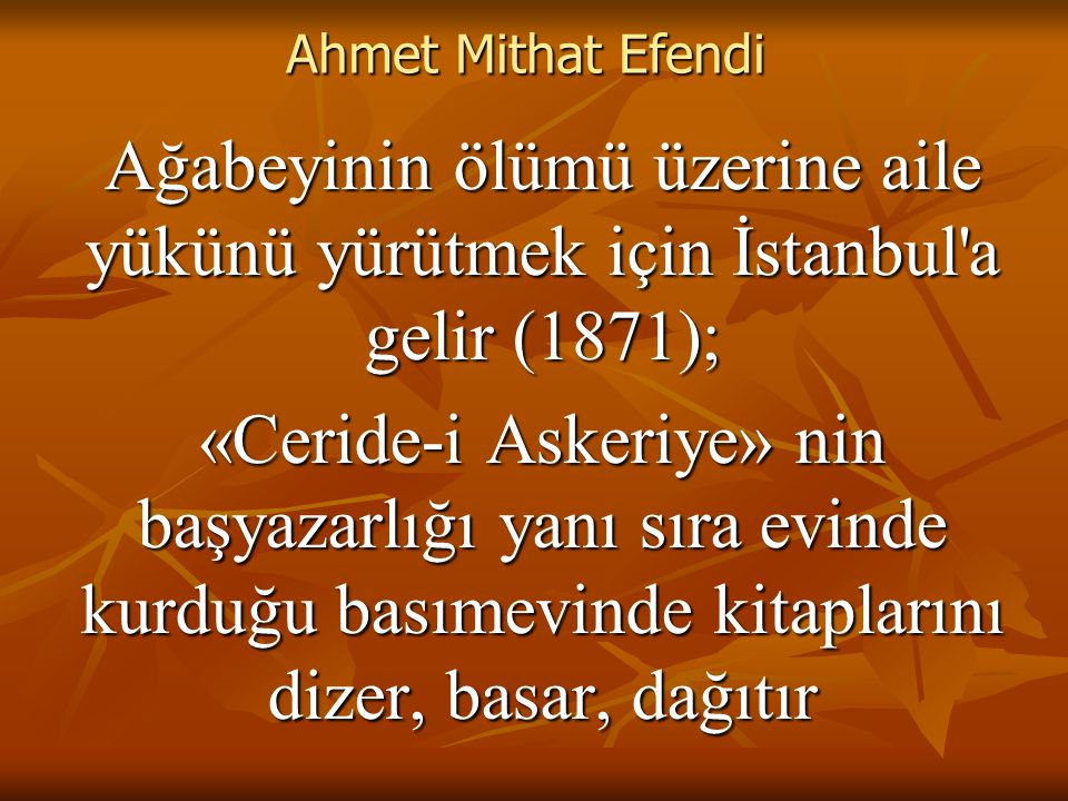 Ahmet Mithat Efendi Ağabeyinin ölümü üzerine aile yükünü yürütmek için İstanbul a gelir (1871); «Ceride-i Askeriye» nin başyazarlığı yanı sıra evinde kurduğu basımevinde kitaplarını dizer, basar, dağıtır