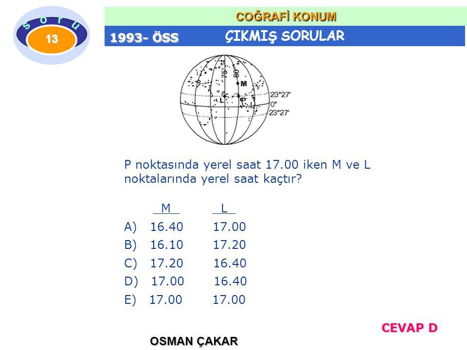 ÇIKMIŞ SORULAR OSMAN ÇAKAR COĞRAFİ KONUM 13 P noktasında yerel saat 17.00 iken M ve L noktalarında yerel saat kaçtır? M L A) 16.40 17.00 B) 16.10 17.2