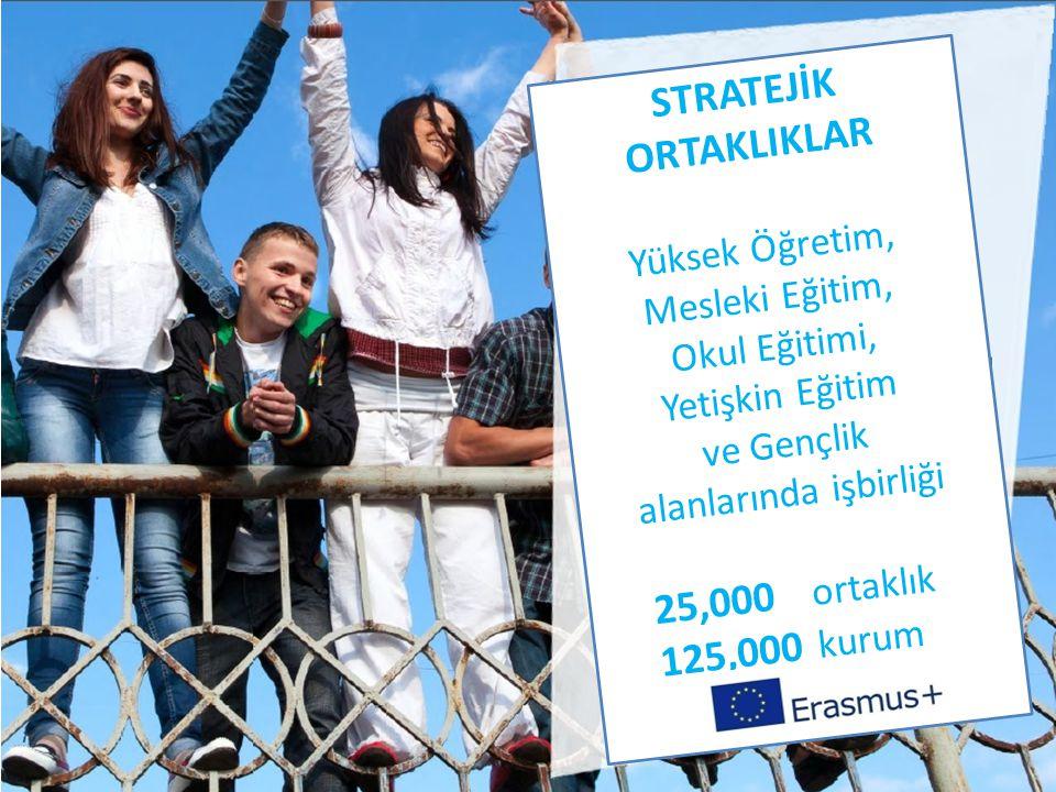 STRATEJİK ORTAKLIKLAR Yüksek Öğretim, Mesleki Eğitim, Okul Eğitimi, Yetişkin Eğitim ve Gençlik alanlarında işbirliği 25,000 ortaklık 125,000 kurum