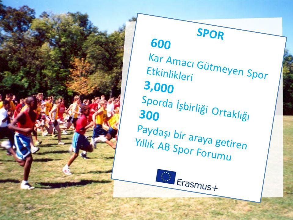 SPOR 600 Kar Amacı Gütmeyen Spor Etkinlikleri 3,000 Sporda İşbirliği Ortaklığı 300 Paydaşı bir araya getiren Yıllık AB Spor Forumu