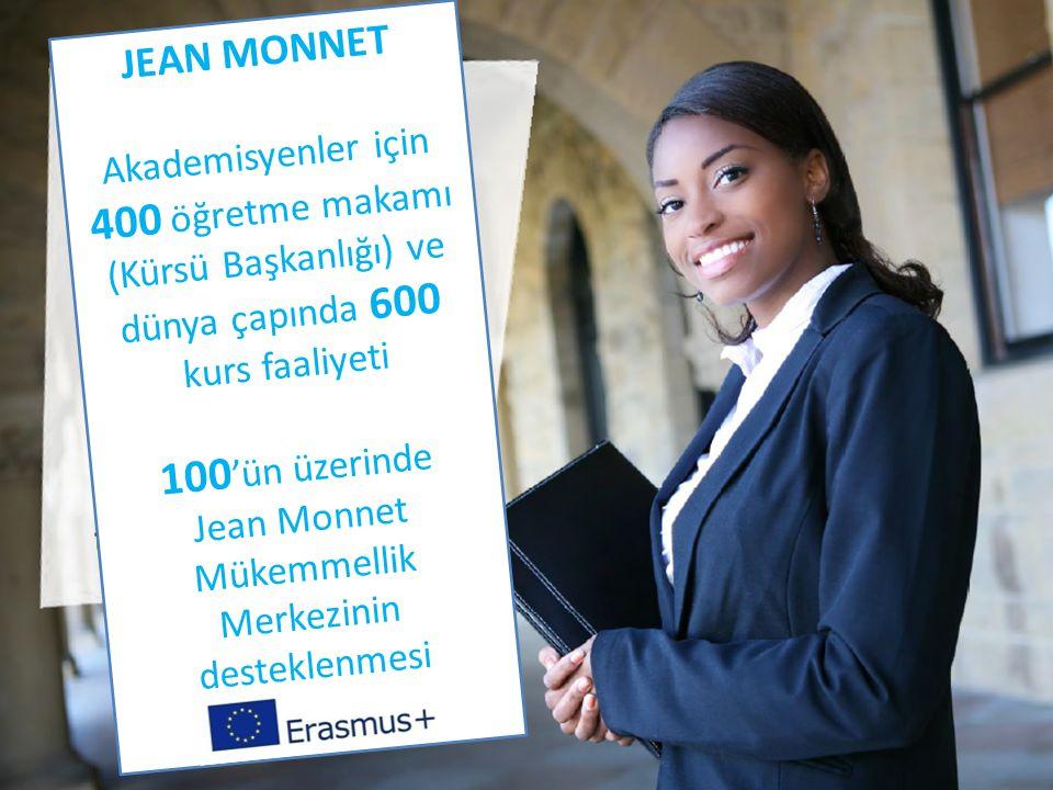 JEAN MONNET Akademisyenler için 400 öğretme makamı (Kürsü Başkanlığı) ve dünya çapında 600 kurs faaliyeti 100 'ün üzerinde Jean Monnet Mükemmellik Merkezinin desteklenmesi