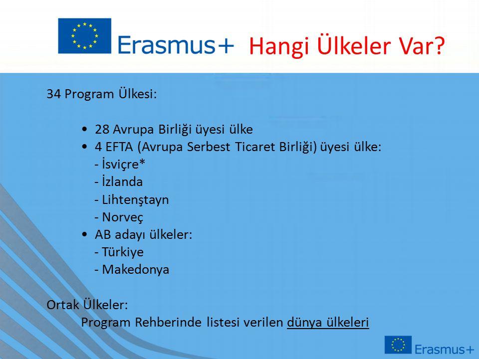34 Program Ülkesi: 28 Avrupa Birliği üyesi ülke 4 EFTA (Avrupa Serbest Ticaret Birliği) üyesi ülke: - İsviçre* - İzlanda - Lihtenştayn - Norveç AB adayı ülkeler: - Türkiye - Makedonya Ortak Ülkeler: Program Rehberinde listesi verilen dünya ülkeleri Hangi Ülkeler Var?
