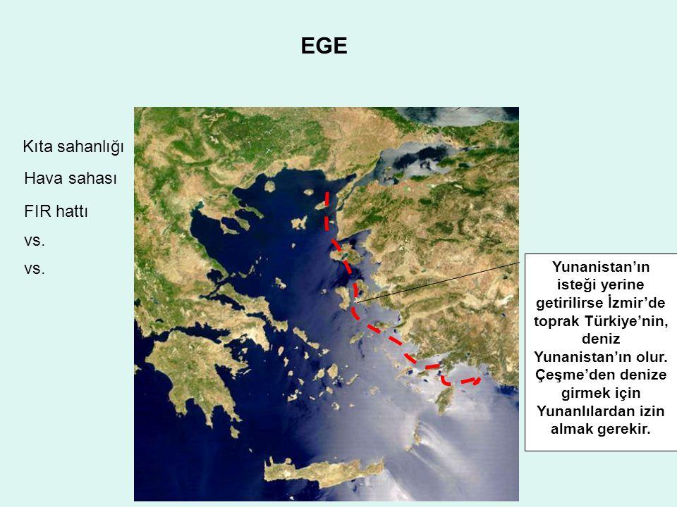 EGE Yunanistan'ın isteği yerine getirilirse İzmir'de toprak Türkiye'nin, deniz Yunanistan'ın olur.