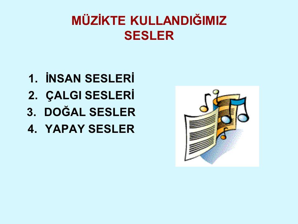 1.İNSAN SESLERİ 2.ÇALGI SESLERİ 3.DOĞAL SESLER 4.YAPAY SESLER