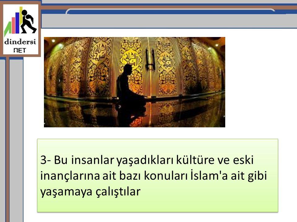 3- Bu insanlar yaşadıkları kültüre ve eski inançlarına ait bazı konuları İslam'a ait gibi yaşamaya çalıştılar