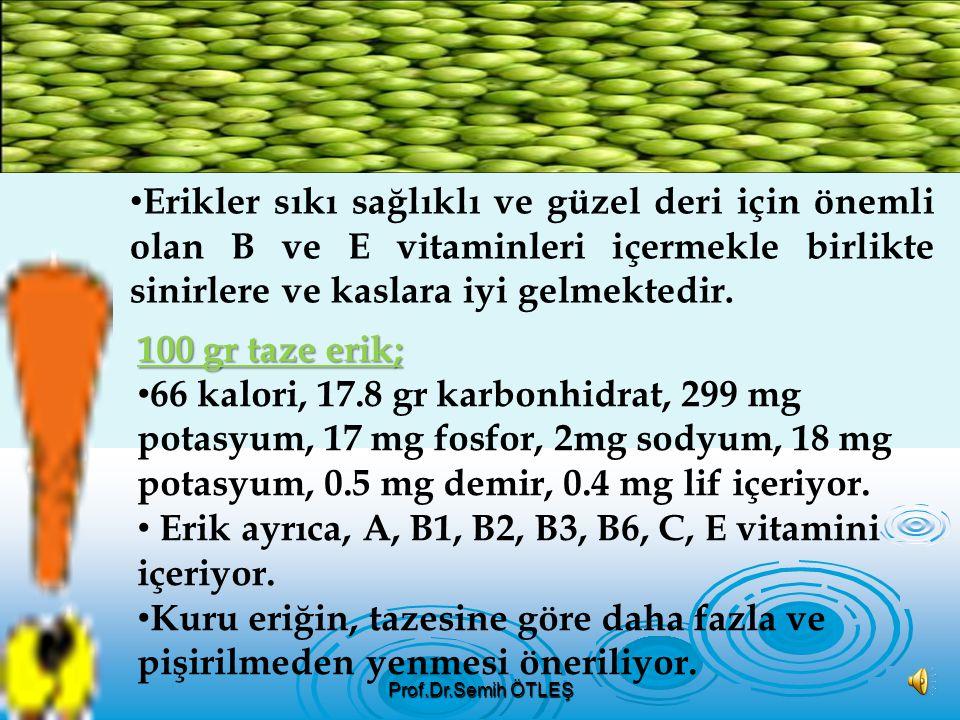 Erik bol miktarda B vitamini içerir. Karaciğer, kalp ve böbrek hastalıklarına, sindirim rahatsızlığı çekenlere ve romatizma rahatsızlığı olanlara iyi