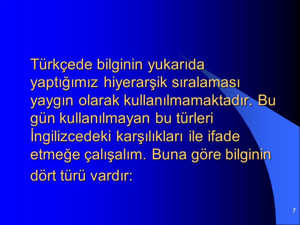 7 Türkçede bilginin yukarıda yaptığımız hiyerarşik sıralaması yaygın olarak kullanılmamaktadır.