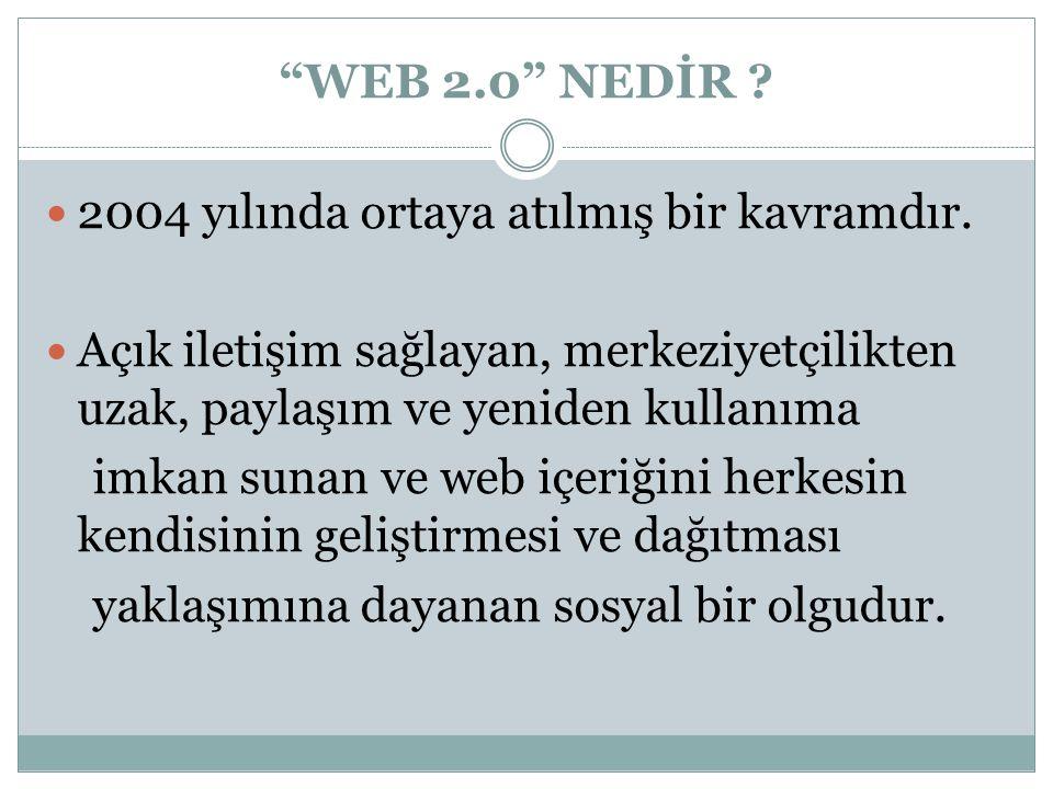 WEB 2.0 NEDİR . 2004 yılında ortaya atılmış bir kavramdır.