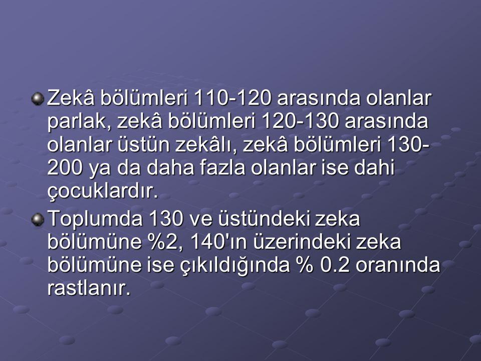 Zekâ bölümleri 110-120 arasında olanlar parlak, zekâ bölümleri 120-130 arasında olanlar üstün zekâlı, zekâ bölümleri 130- 200 ya da daha fazla olanlar