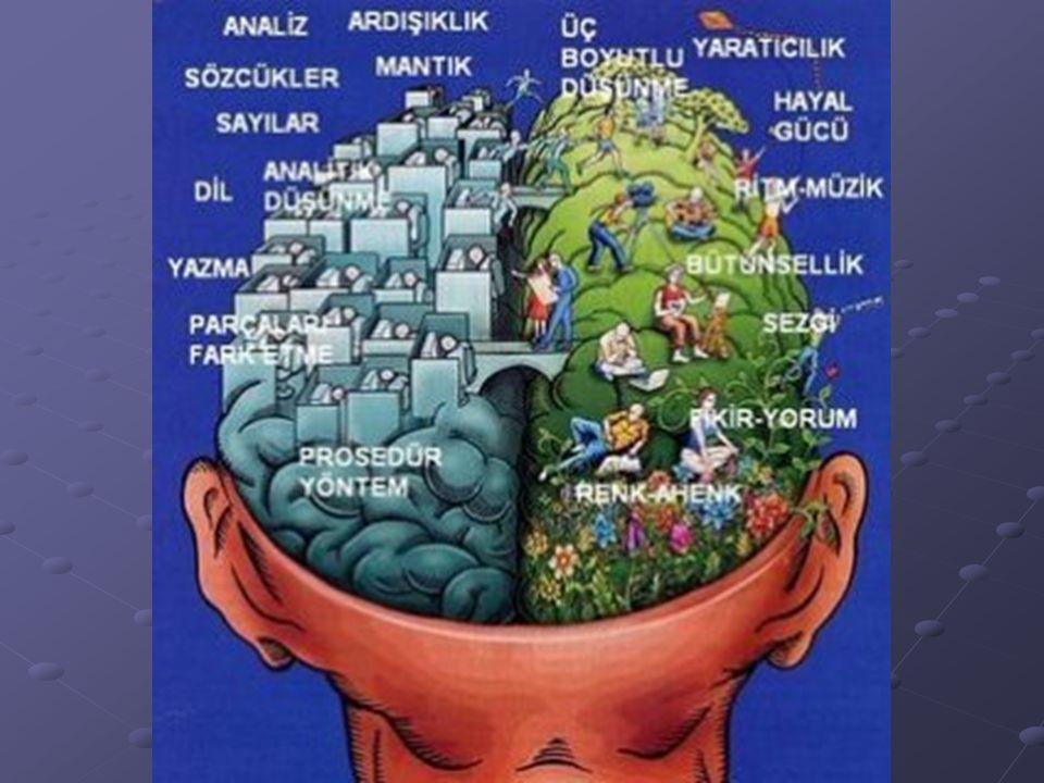 DEĞERLENDİRME A ların sayısı fazla ise, SAĞ beyniniz daha gelişmiştir...