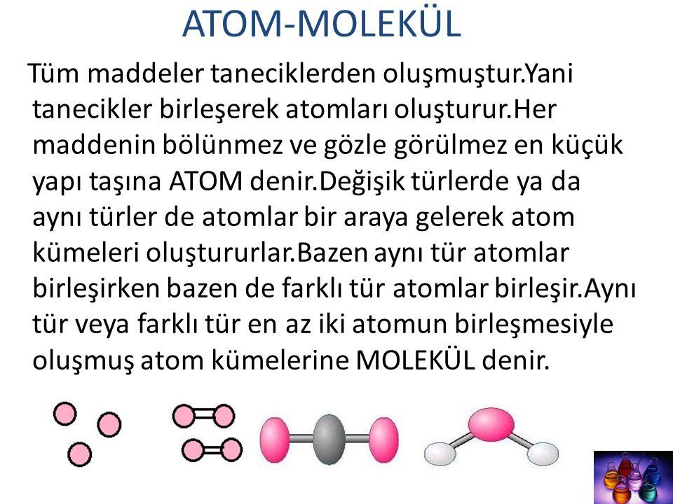 ATOM-MOLEKÜL Tüm maddeler taneciklerden oluşmuştur.Yani tanecikler birleşerek atomları oluşturur.Her maddenin bölünmez ve gözle görülmez en küçük yapı
