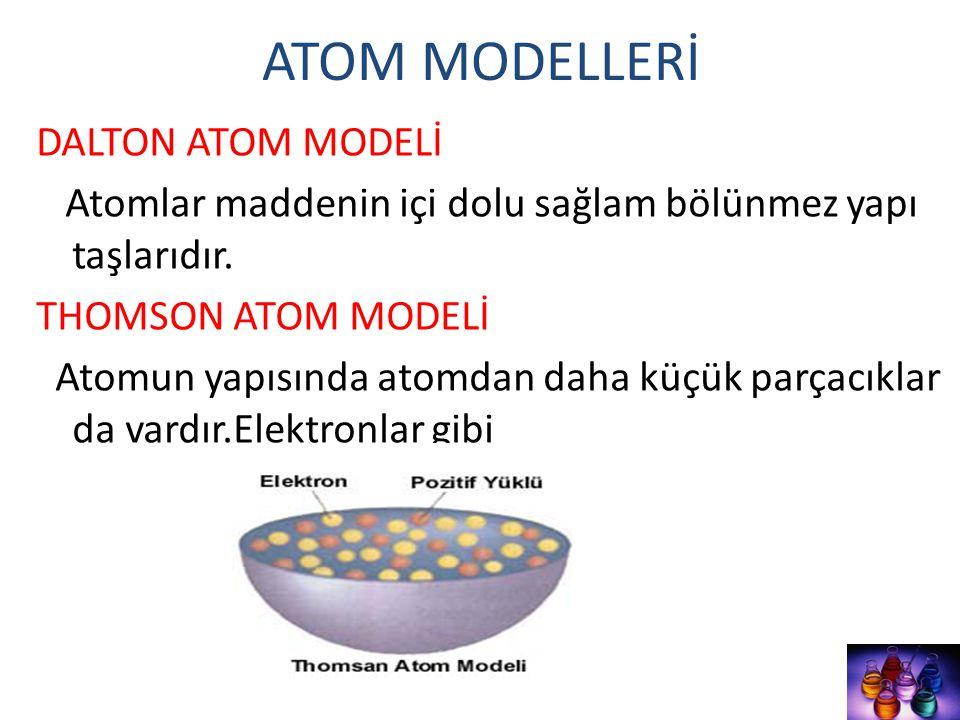 ATOM MODELLERİ DALTON ATOM MODELİ Atomlar maddenin içi dolu sağlam bölünmez yapı taşlarıdır. THOMSON ATOM MODELİ Atomun yapısında atomdan daha küçük p