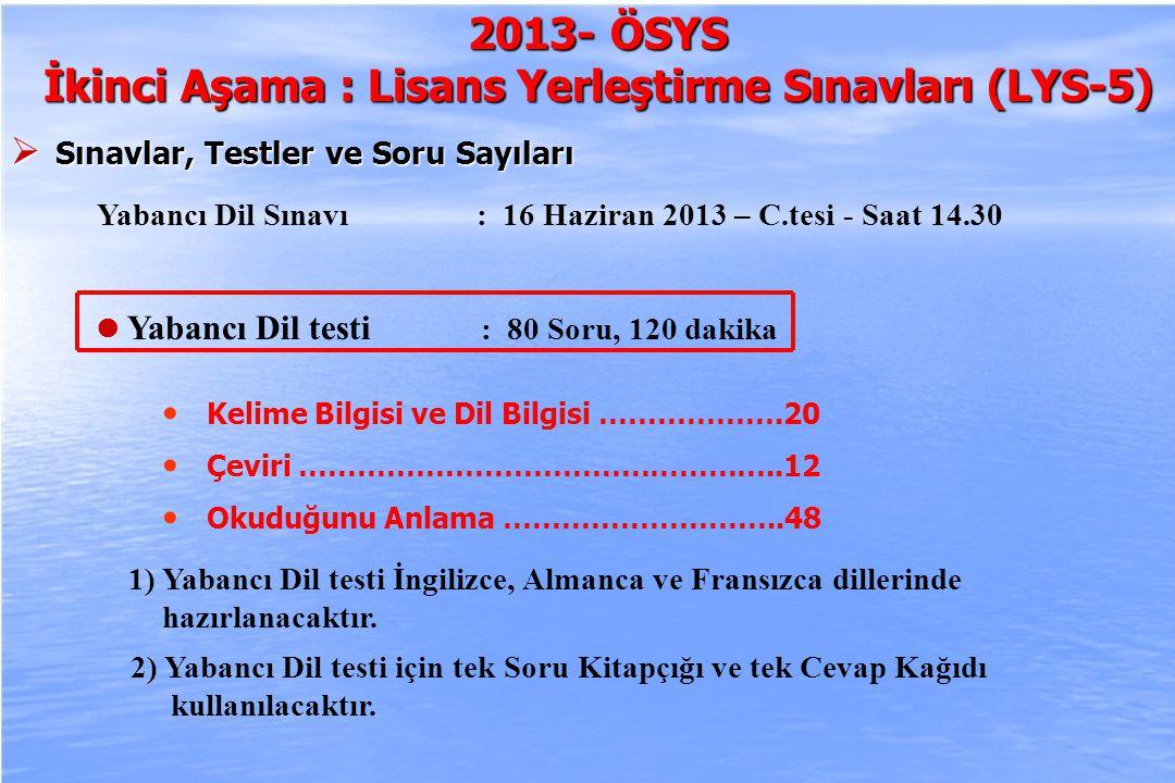 2010-ÖSYS Sunum, İstanbul 29 Ağustos 2009 2013- ÖSYS İkinci Aşama : Lisans Yerleştirme Sınavları (LYS-5)  Sınavlar, Testler ve Soru Sayıları Yabancı Dil Sınavı : 16 Haziran 2013 – C.tesi - Saat 14.30 Yabancı Dil testi : 80 Soru, 120 dakika 1) Yabancı Dil testi İngilizce, Almanca ve Fransızca dillerinde hazırlanacaktır.