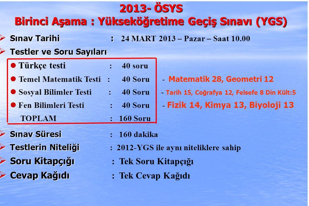 2010-ÖSYS Sunum, İstanbul 29 Ağustos 2009 2013- ÖSYS Birinci Aşama : Yükseköğretime Geçiş Sınavı (YGS)  Sınav Tarihi :  Sınav Tarihi : 24 MART 2013