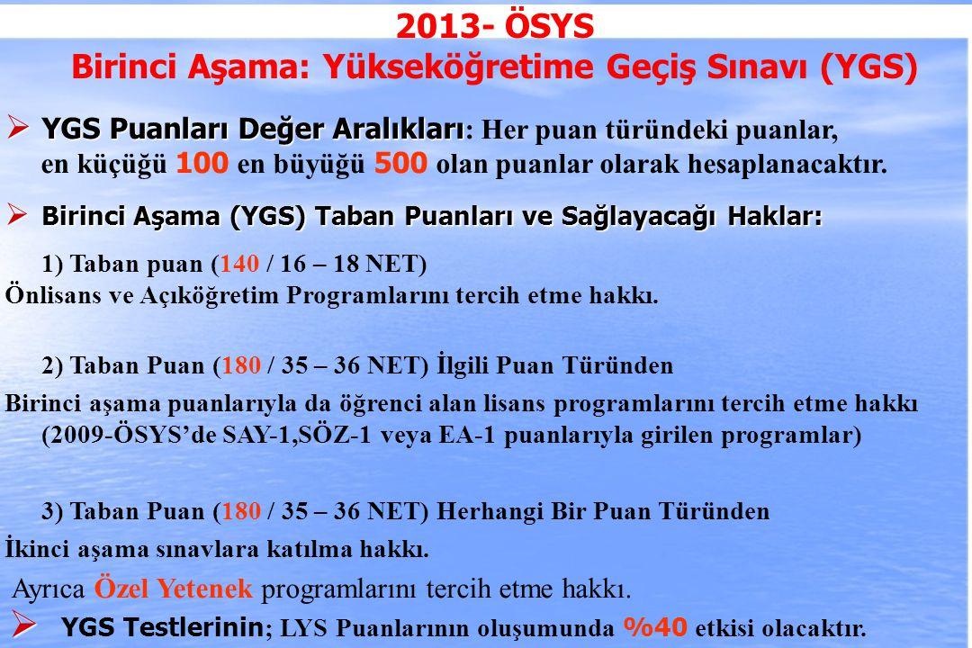 2010-ÖSYS Sunum, İstanbul 29 Ağustos 2009 2013- ÖSYS Birinci Aşama: Yükseköğretime Geçiş Sınavı (YGS)  YGS Puanları Değer Aralıkları  YGS Puanları Değer Aralıkları : Her puan türündeki puanlar, en küçüğü 100 en büyüğü 500 olan puanlar olarak hesaplanacaktır.