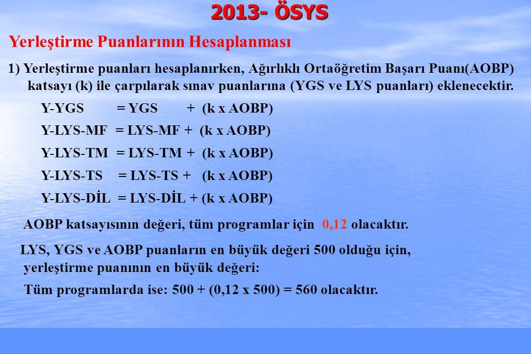 2010-ÖSYS Sunum, İstanbul 29 Ağustos 2009 2013- ÖSYS Yerleştirme Puanlarının Hesaplanması 1) Yerleştirme puanları hesaplanırken, Ağırlıklı Ortaöğretim Başarı Puanı(AOBP) katsayı (k) ile çarpılarak sınav puanlarına (YGS ve LYS puanları) eklenecektir.