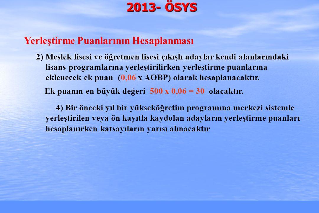 2010-ÖSYS Sunum, İstanbul 29 Ağustos 2009 2013- ÖSYS Yerleştirme Puanlarının Hesaplanması 2) Meslek lisesi ve öğretmen lisesi çıkışlı adaylar kendi alanlarındaki lisans programlarına yerleştirilirken yerleştirme puanlarına eklenecek ek puan (0,06 x AOBP) olarak hesaplanacaktır.