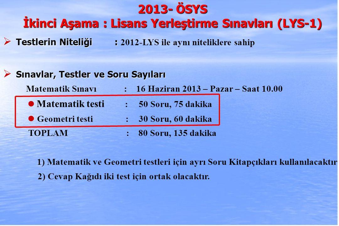 2010-ÖSYS Sunum, İstanbul 29 Ağustos 2009 2013- ÖSYS İkinci Aşama : Lisans Yerleştirme Sınavları (LYS-1)  Testlerin Niteliği :  Testlerin Niteliği : 2012-LYS ile aynı niteliklere sahip  Sınavlar, Testler ve Soru Sayıları Matematik Sınavı : 16 Haziran 2013 – Pazar – Saat 10.00 Matematik testi : 50 Soru, 75 dakika Geometri testi :30 Soru, 60 dakika TOPLAM : 80 Soru, 135 dakika 1) Matematik ve Geometri testleri için ayrı Soru Kitapçıkları kullanılacaktır 2) Cevap Kağıdı iki test için ortak olacaktır.