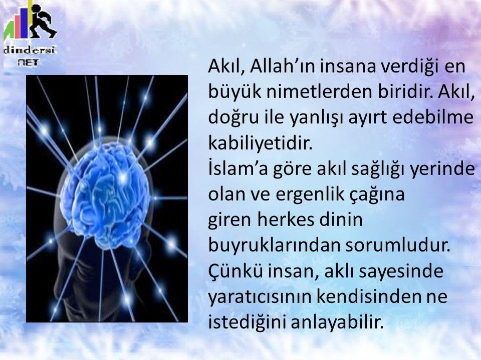 Akıl, Allah'ın insana verdiği en büyük nimetlerden biridir. Akıl, doğru ile yanlışı ayırt edebilme kabiliyetidir. İslam'a göre akıl sağlığı yerinde ol