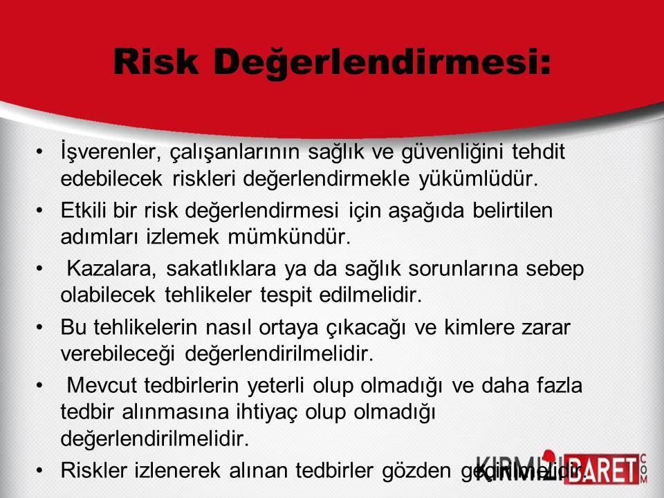 Risk Değerlendirmesi: İşverenler, çalışanlarının sağlık ve güvenliğini tehdit edebilecek riskleri değerlendirmekle yükümlüdür. Etkili bir risk değerle