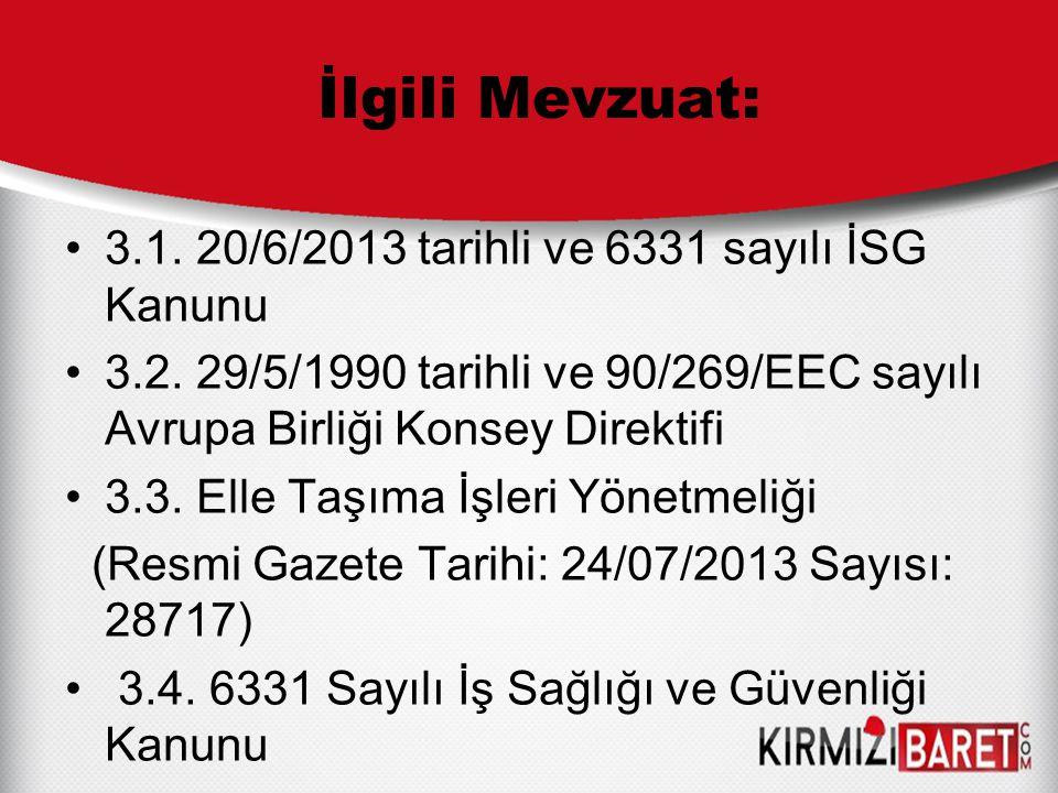İlgili Mevzuat: 3.1. 20/6/2013 tarihli ve 6331 sayılı İSG Kanunu 3.2. 29/5/1990 tarihli ve 90/269/EEC sayılı Avrupa Birliği Konsey Direktifi 3.3. Elle