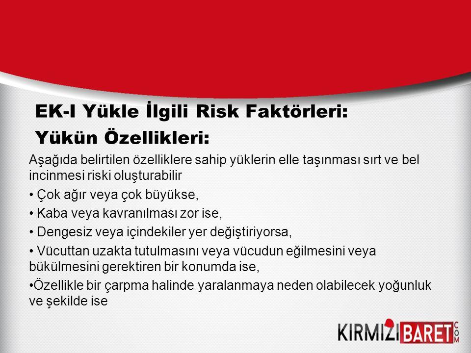 EK-I Yükle İlgili Risk Faktörleri: Yükün Özellikleri: Aşağıda belirtilen özelliklere sahip yüklerin elle taşınması sırt ve bel incinmesi riski oluştur