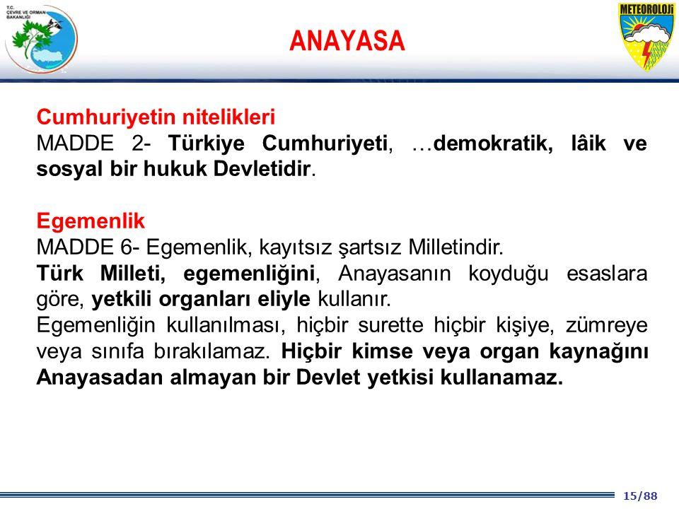 15/88 2001 2003 2009- 2012 Cumhuriyetin nitelikleri MADDE 2- Türkiye Cumhuriyeti, …demokratik, lâik ve sosyal bir hukuk Devletidir. Egemenlik MADDE 6-