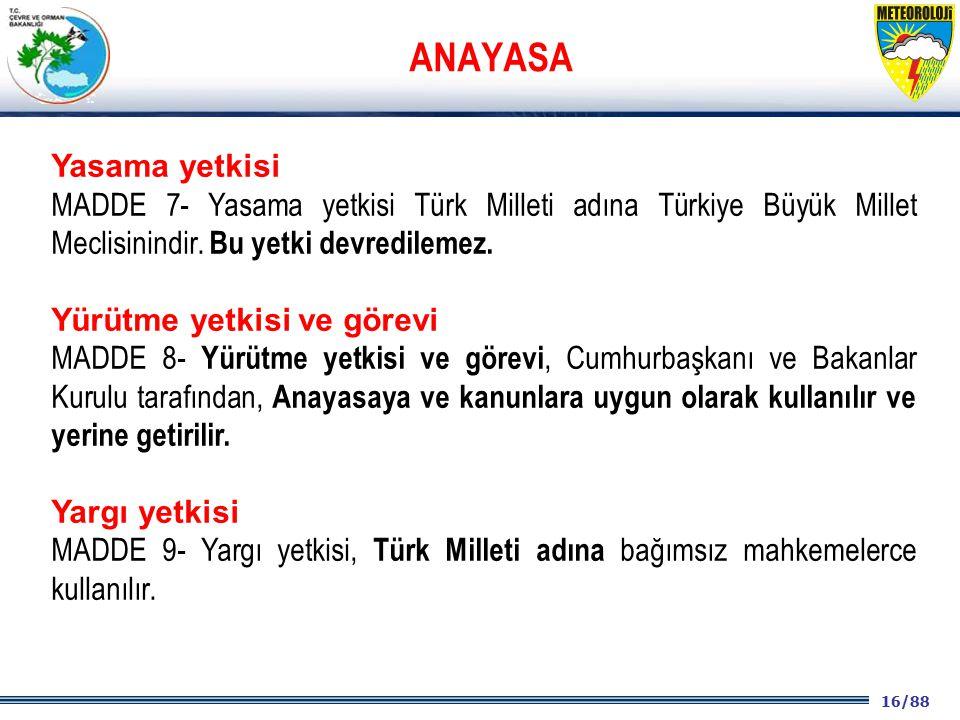 16/88 2001 2003 2009- 2012 Yasama yetkisi MADDE 7- Yasama yetkisi Türk Milleti adına Türkiye Büyük Millet Meclisinindir. Bu yetki devredilemez. Yürütm