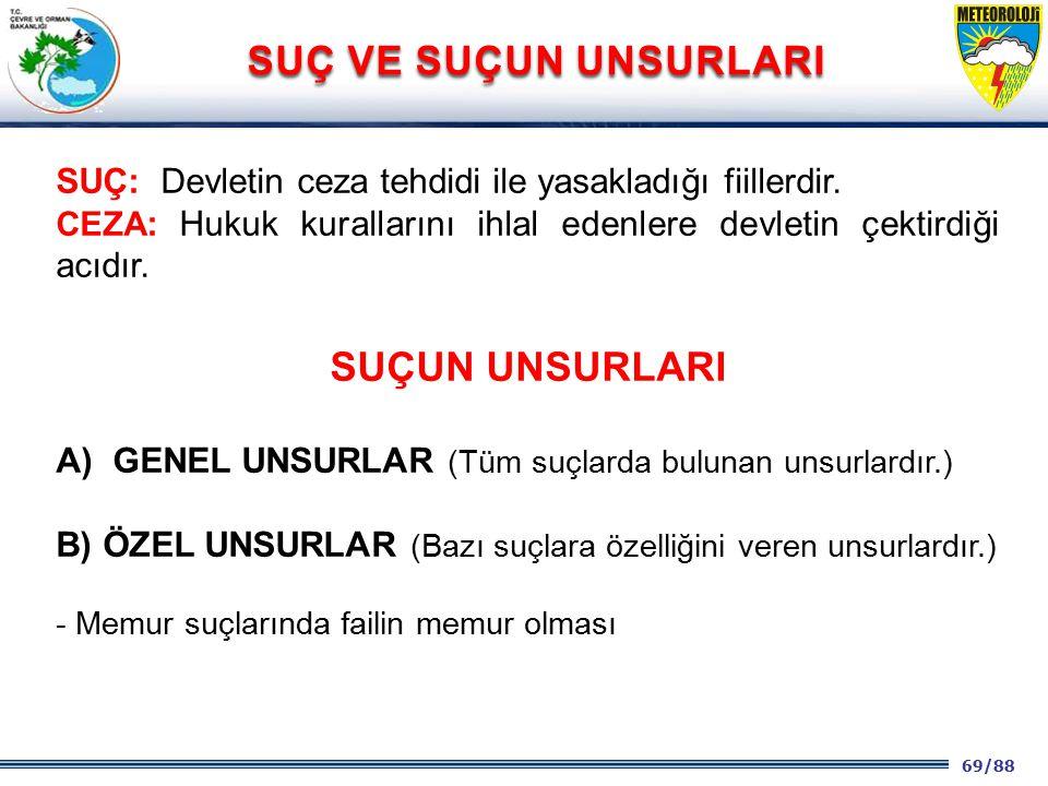 69/88 2001 2003 2009- 2012 SUÇ: Devletin ceza tehdidi ile yasakladığı fiillerdir. CEZA : Hukuk kurallarını ihlal edenlere devletin çektirdiği acıdır.