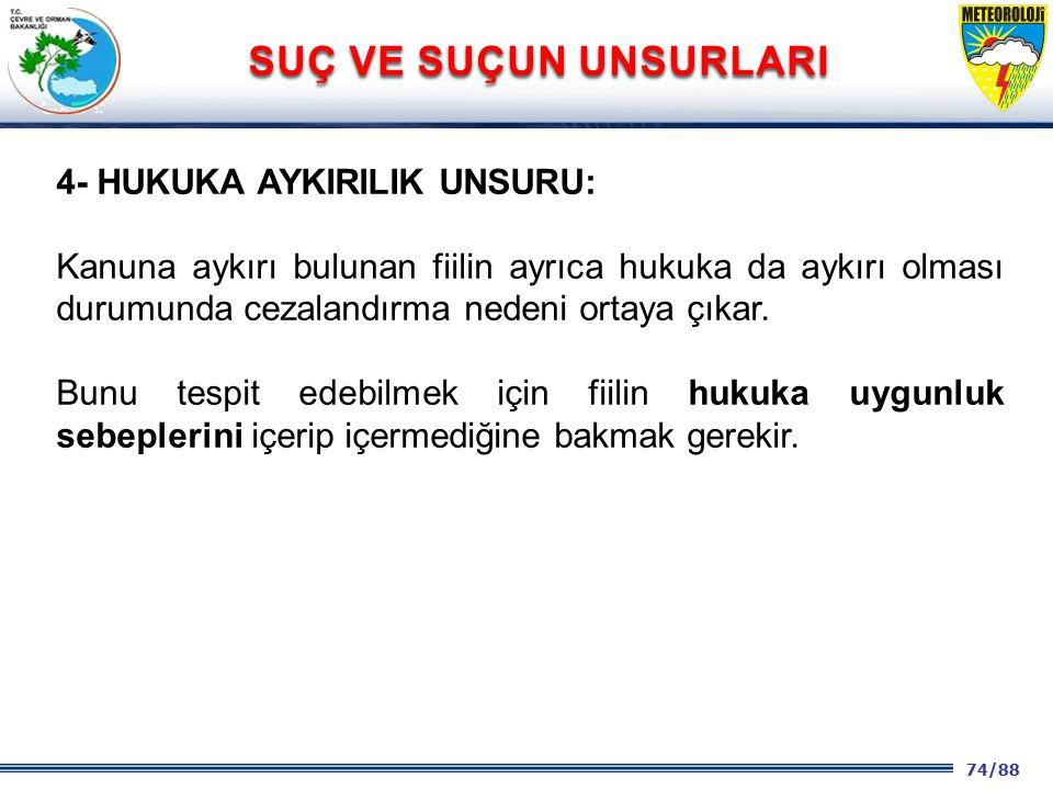 74/88 2001 2003 2009- 2012 4- HUKUKA AYKIRILIK UNSURU: Kanuna aykırı bulunan fiilin ayrıca hukuka da aykırı olması durumunda cezalandırma nedeni ortay