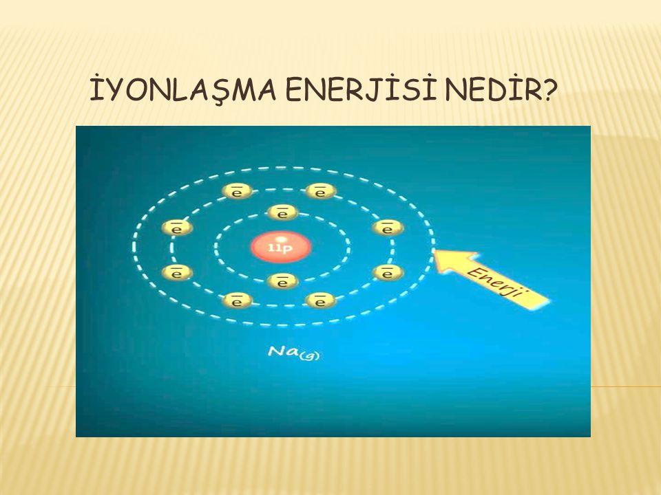 İyonlaşma enerjisi, gaz halindeki bir atomun son temel enerji seviyesindeki çekirdek tarafından en az kuvvetle çekilen bir elektronu koparmak için verilmesi gereken en az enerji miktarıdır.