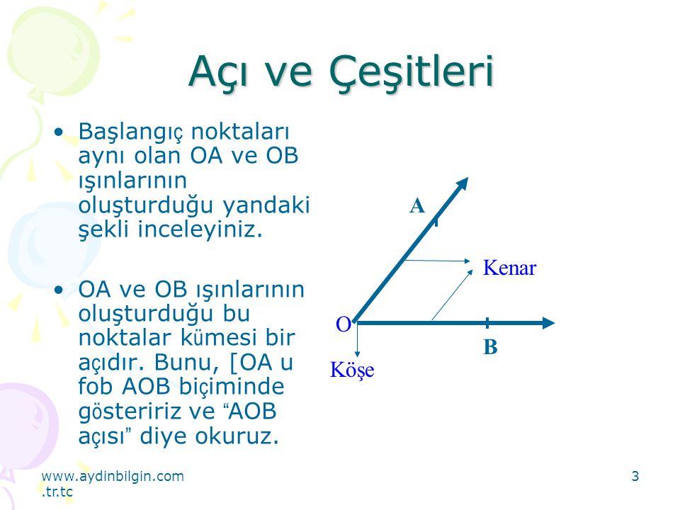www.aydinbilgin.com.tr.tc 4 Açı Ve Çeşitleri OA ışını ile OB ışınının oluşturduğu açı; AOB, BOA veya 0 biçiminde gösterilir.