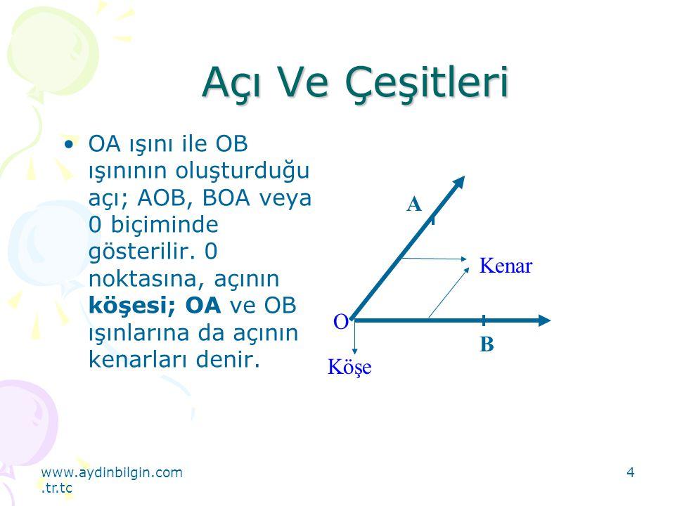 www.aydinbilgin.com.tr.tc 4 Açı Ve Çeşitleri OA ışını ile OB ışınının oluşturduğu açı; AOB, BOA veya 0 biçiminde gösterilir. 0 noktasına, açının köşes